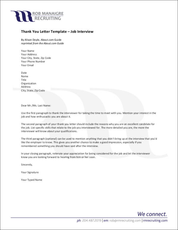 Thank You Letter After Third Interview Images - Letter Format Formal