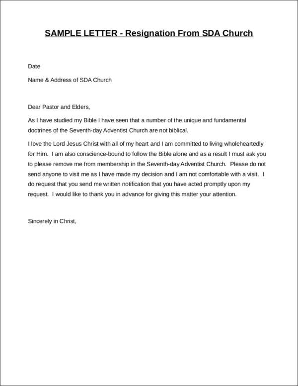 letter of resignation from a church hgvi