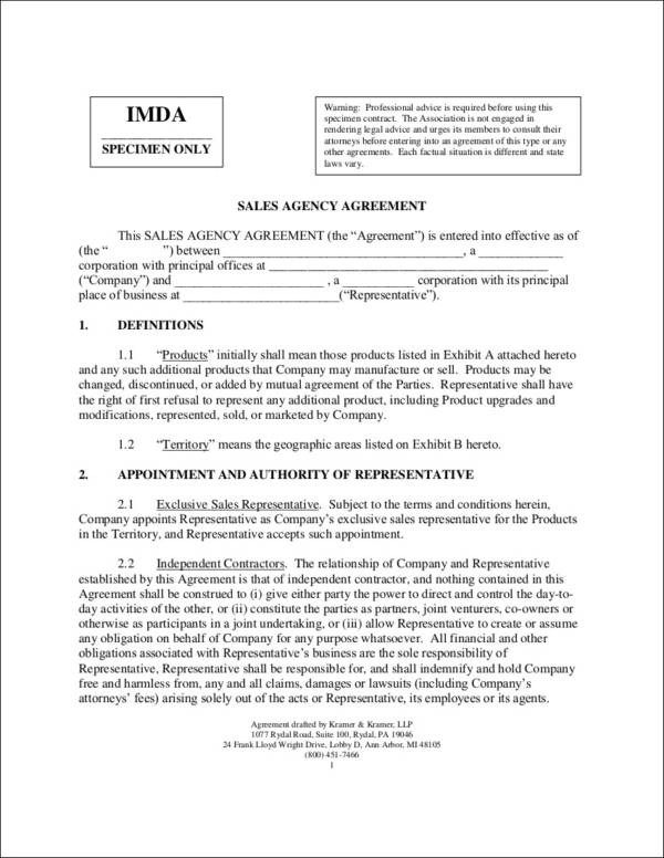 Free Contract Templates - 40 Free Samples, Examples, Formats Download - sales agent contracts