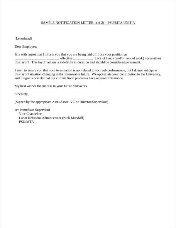 11+ Company Termination Letter Samples \u2013 PDF, Word Sample Templates