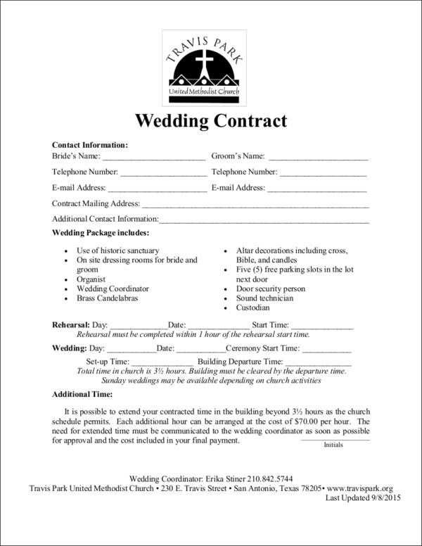 14+ Wedding Contract Samples - Word, PDF, Google Docs Format Download