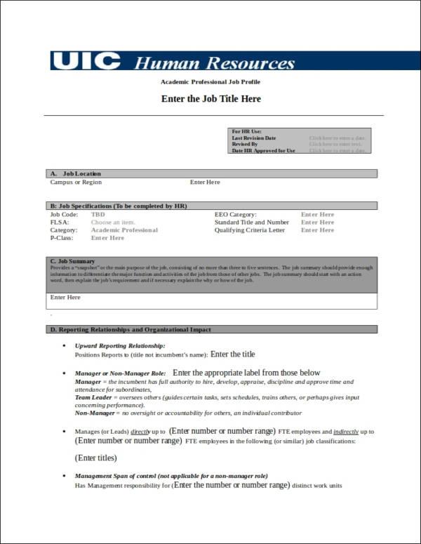 work profile template - Doritmercatodos