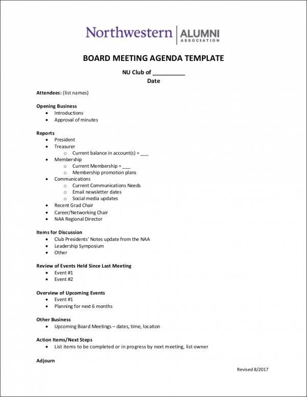 10 Board Agenda Samples  Templates Sample Templates