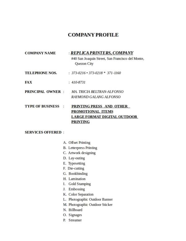 18+ Simple Company Profile Templates \u2013 DOC Sample Templates