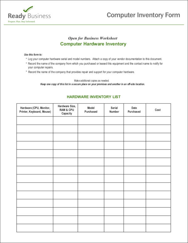 inventory checklist form - Minimfagency - Inventory Sheet Sample