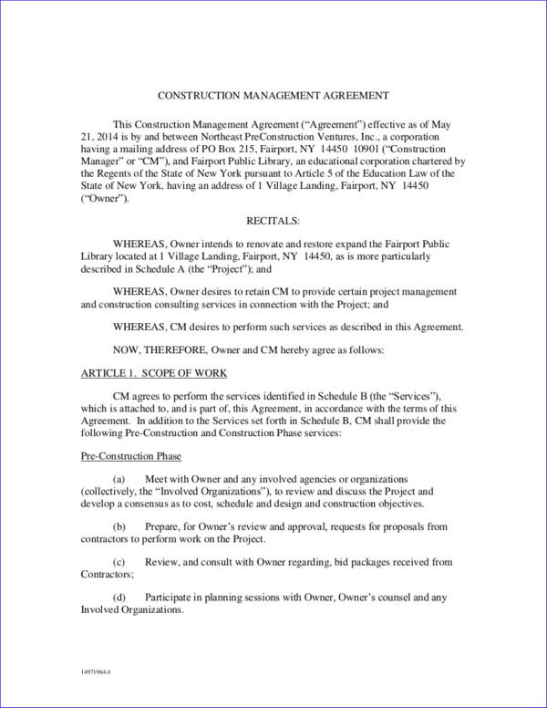 17 Management Contract Samples  Templates Sample Templates