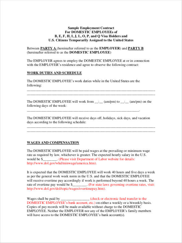 Pretty Temporary Employment Contract Template Gallery  Example