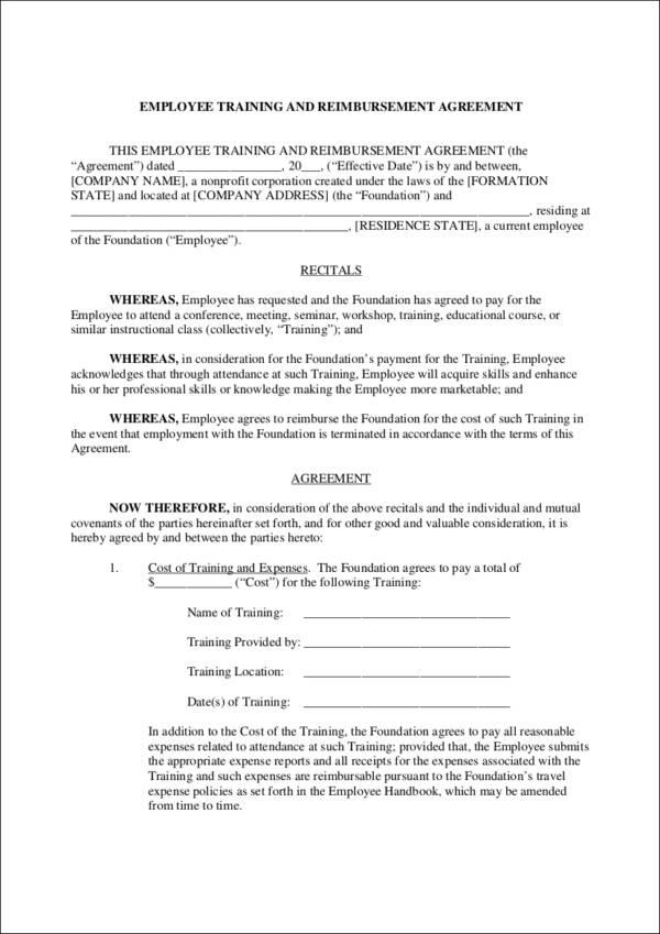Employee Training Agreement Template - Eliolera - training agreement contract