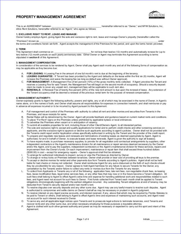 Doc#750971 Property Management Agreement u2013 Property Management - management agreement