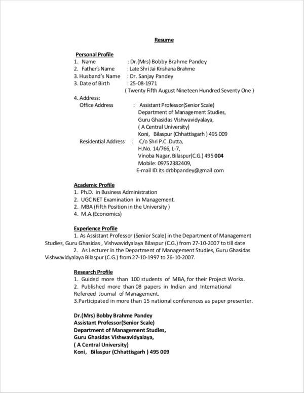 11+ Personal Profile Samples \u2013 PDF, DOC Sample Templates - how to write a personal summary for a resume