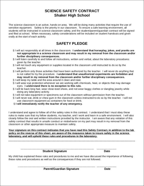 Safety Contract Template - Design Templates - Student Contract Templates