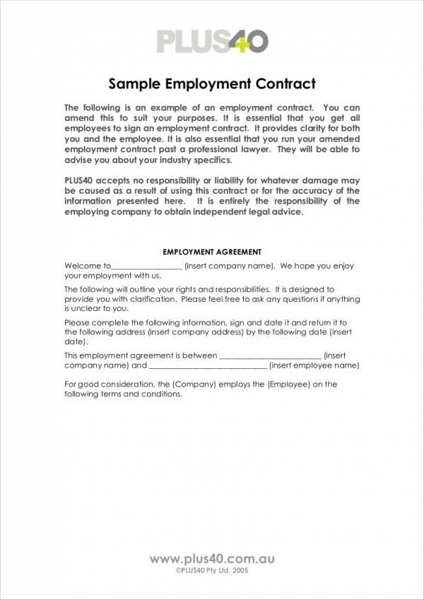 simple employment contract template - Josemulinohouse