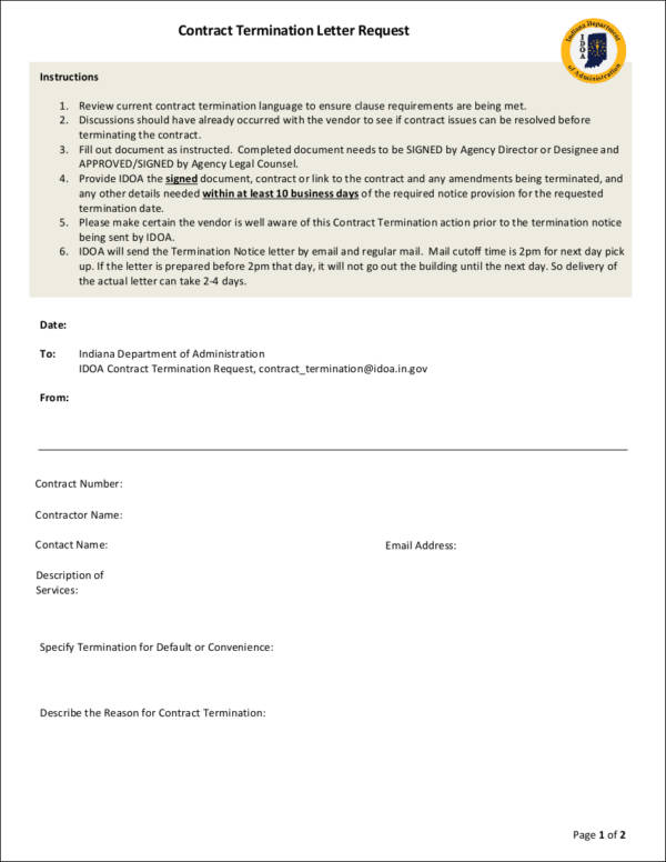 39 Free Termination Letter Samples  Templates Sample Templates - termination letter description