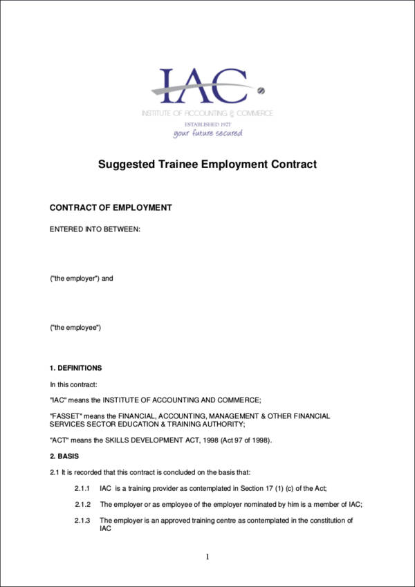 7 Pictures Of Sample Of A Contract Of Employment | Receipts Template