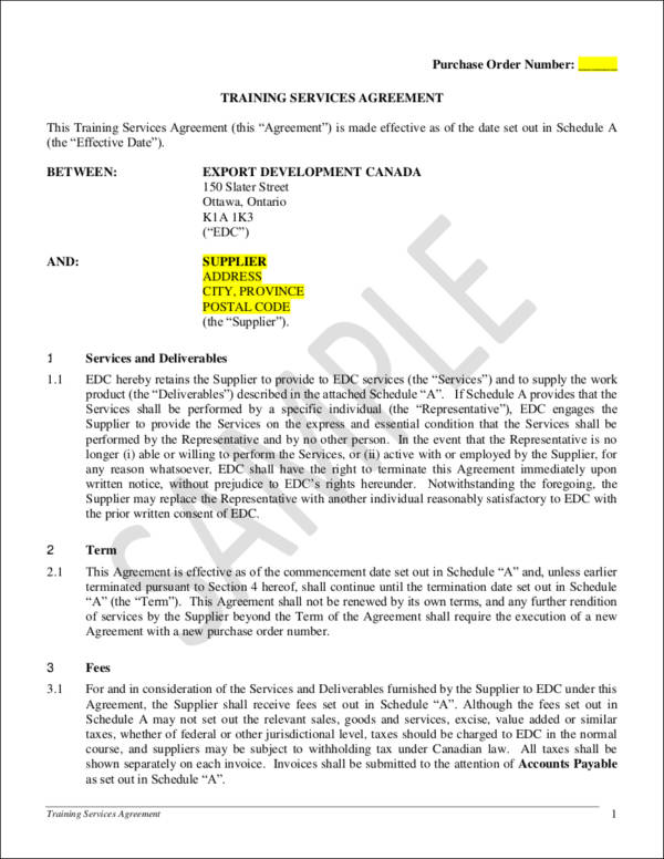 Services agreement template - sample master service agreement