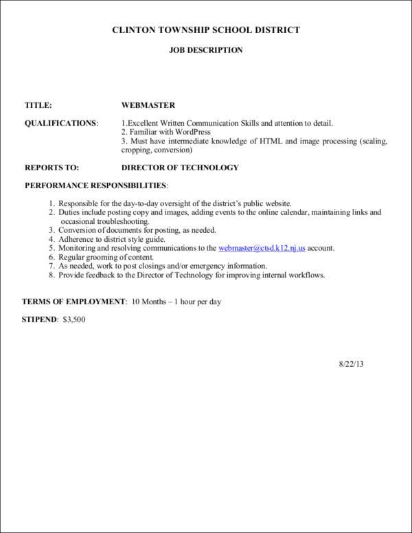 12+ Job Profile Samples  Templates - Free Word, PDF Format Download