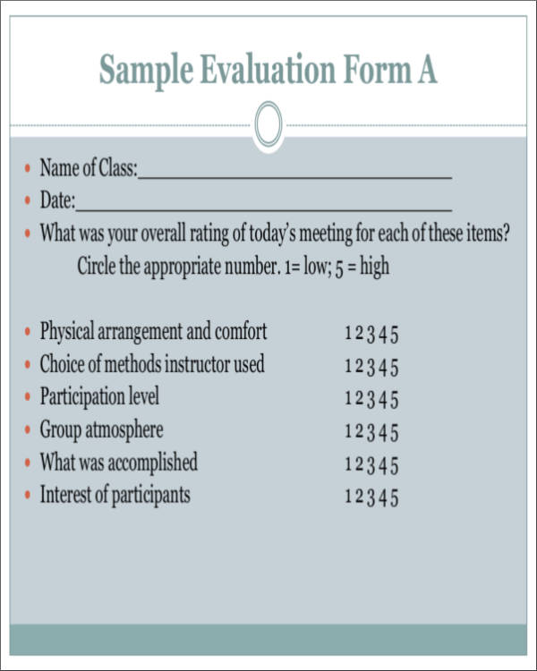16 Activity Evaluation Form Samples  Templates Sample Templates
