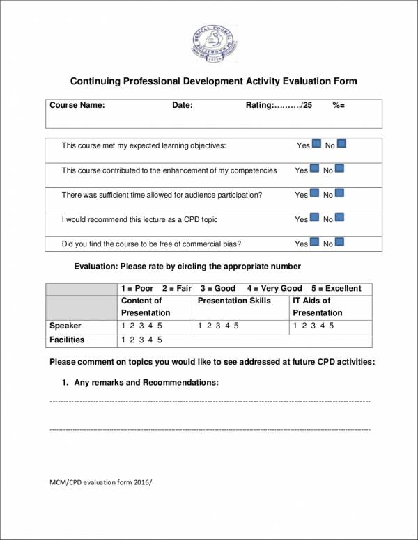 16 Activity Evaluation Form Samples  Templates Sample Templates - lecture evaluation form