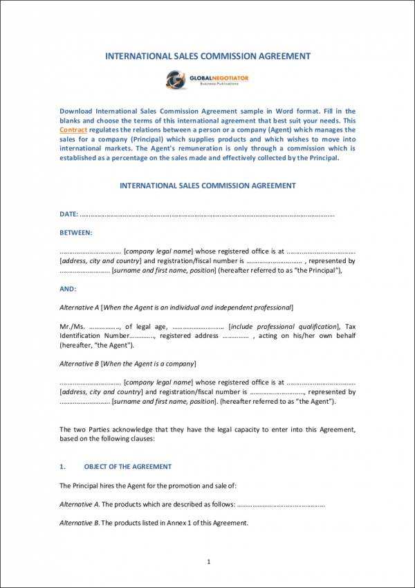 Sales Agent Contracts Agency Agreement Form Samples Free Sample - sales agent contracts