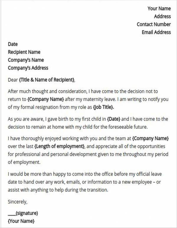 10+ Pregnancy Resignation Letters - PDF, Word, Apple Pages