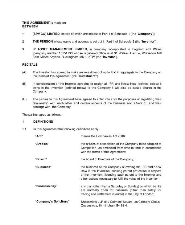 Business Investment Contract Template Free - business investment contract
