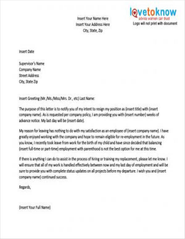 8+ Maternity Resignation Samples  Templates - Free Word, PDF Format - maternity resignation letter