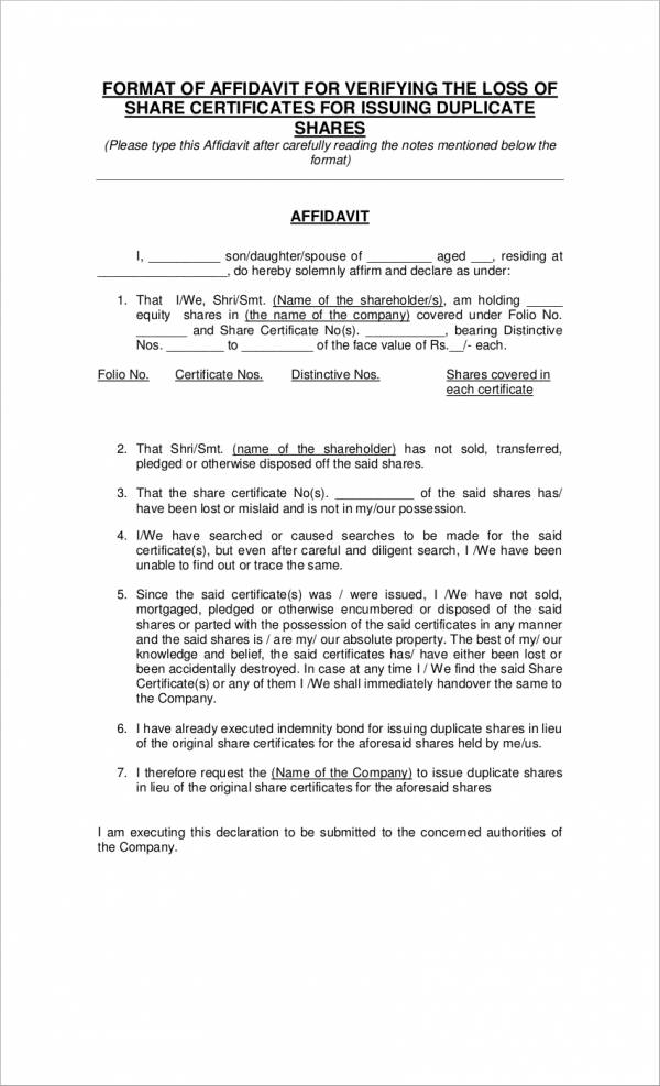 14+ Affidavit of Loss Samples  Templates - Free PDF Format