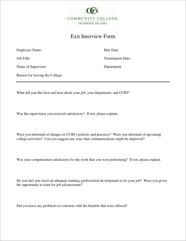 6 Exit Interview Forms Samples  Templates Sample Templates