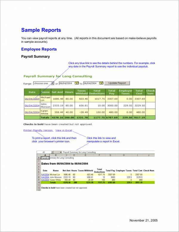 14+ Employee Payroll Samples  Templates - PDF, Word, Excel - payroll report template