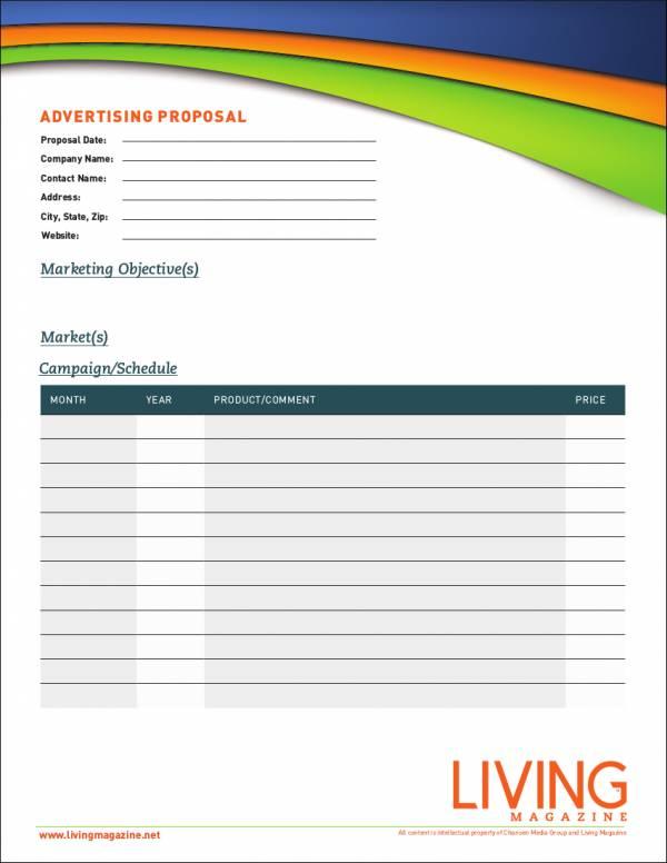 5 Advertising Proposal Samples  Templates Sample Templates - advertising proposal template