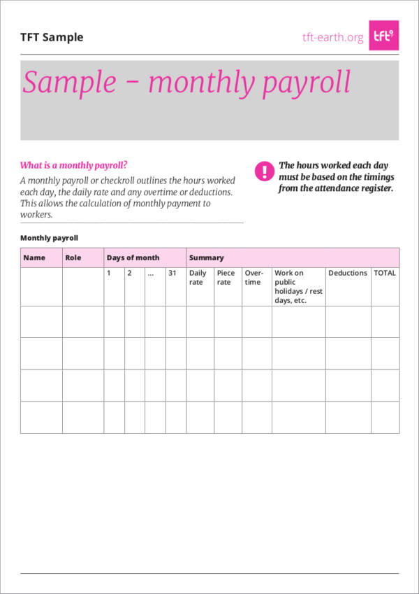 15 Employee Payroll Samples and Templates Sample Templates - sample pay roll