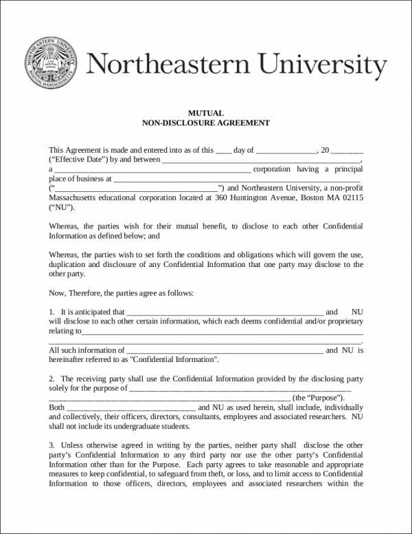 5 Non-Disclosure Agreement Samples  Templates Sample Templates