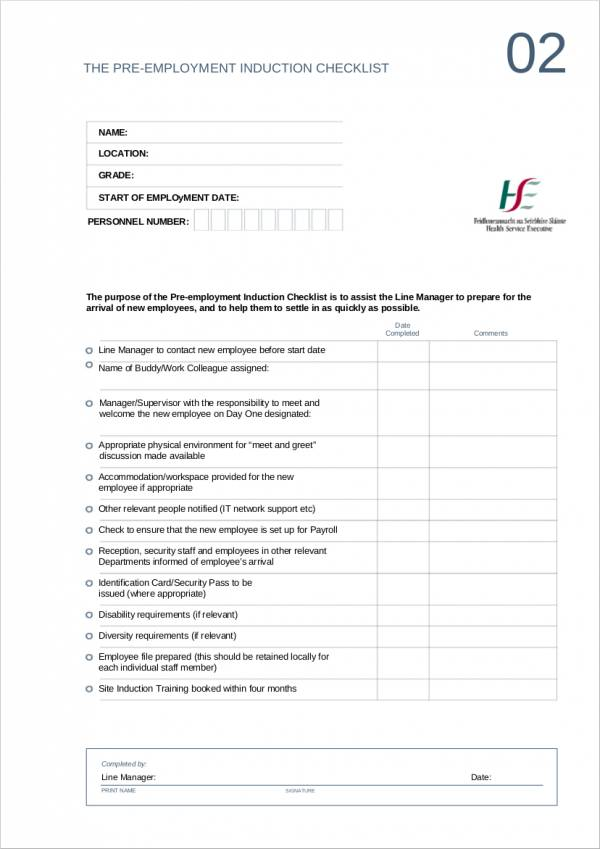 Top Result 60 Best Of Pre Employment Checklist Template Picture 2017 - induction checklist template