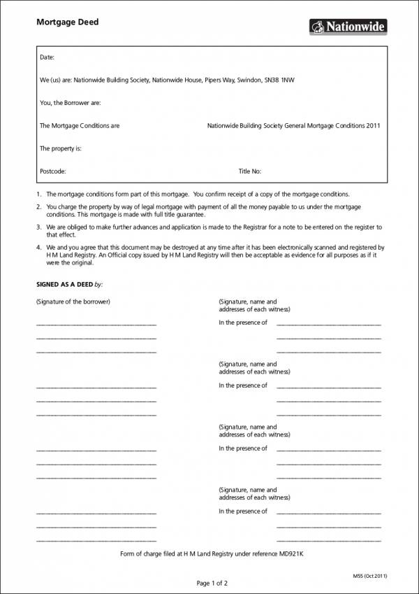 5 Mortgage Deed Samples  Templates Sample Templates