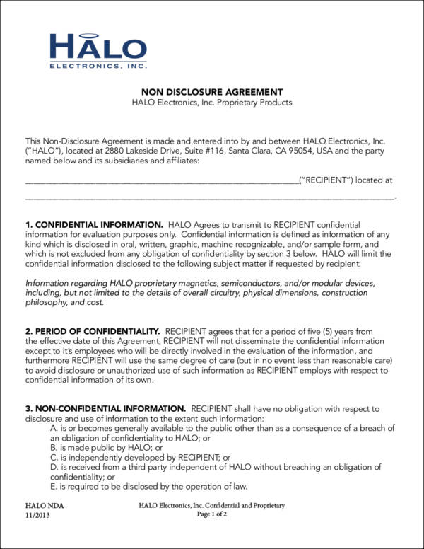12+ Non-Disclosure Agreement Samples  Templates - Word, PDF