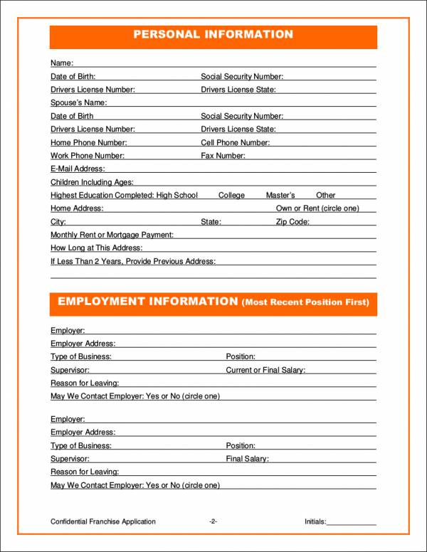 11 Franchise Application Form Samples  Templates Sample Templates - business application form