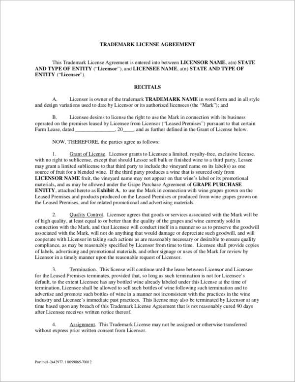 6+ Trademark License Agreement Samples  Templates - PDF, Word
