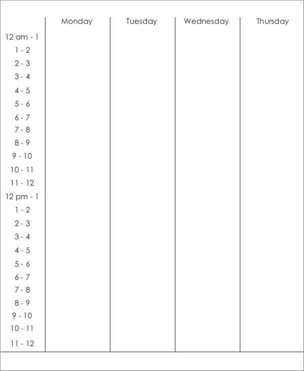 50+ Printable Schedule Template \u2013 PDF, Word, Excel Sample Templates