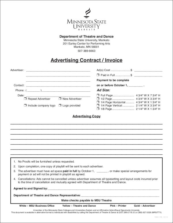 10 Advertising Invoice Templates Sample Templates - Advertising Contract Template
