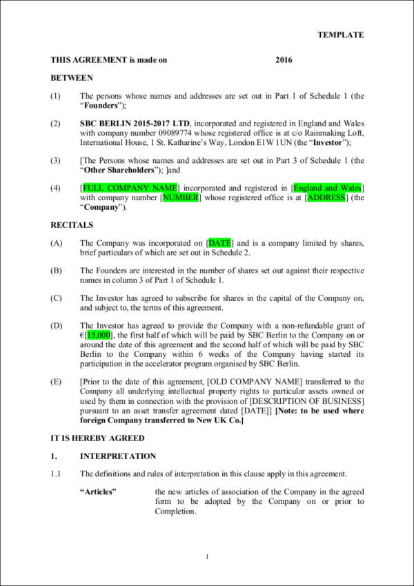 9+ Investment Contract Samples  Templates - PDF, Word - investor agreement contract