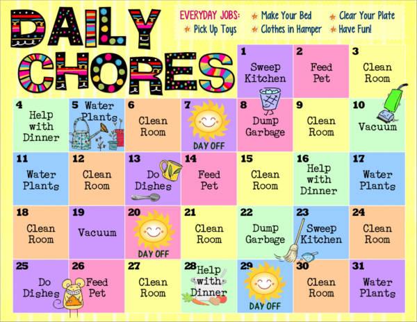 8+ Kid\u0027s Chore Schedule Samples  Templates \u2013 PDF Sample Templates