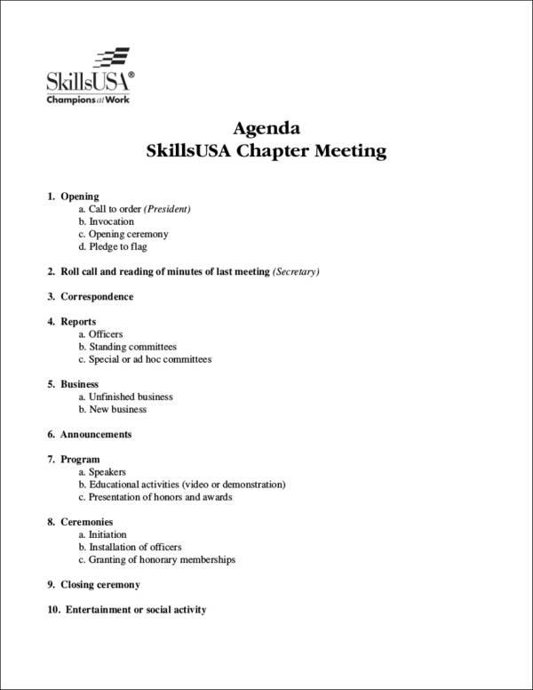 15 Meeting Agenda Samples  Templates Sample Templates