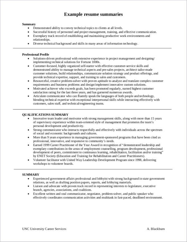 sample project records resume
