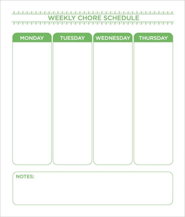 household chore schedule