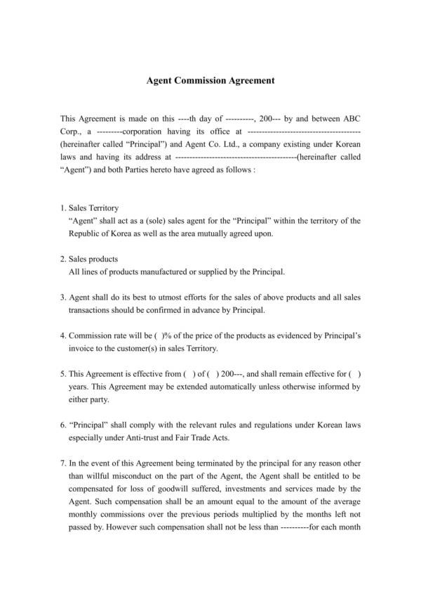 Agent Commission Agreement Template Gallery - Template Design Ideas - agent contract template