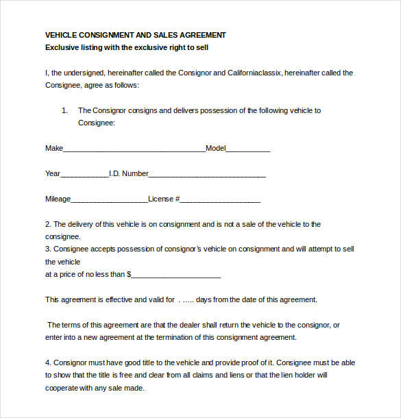 car consignment agreement - Roho4senses