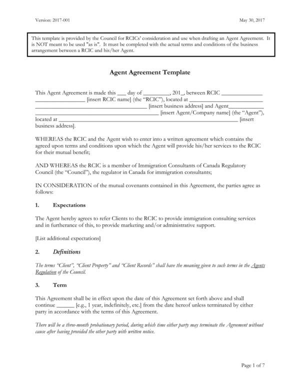 9+ Agent Contract Samples and Templates \u2013 PDF, Word Sample Templates - business agency agreement template