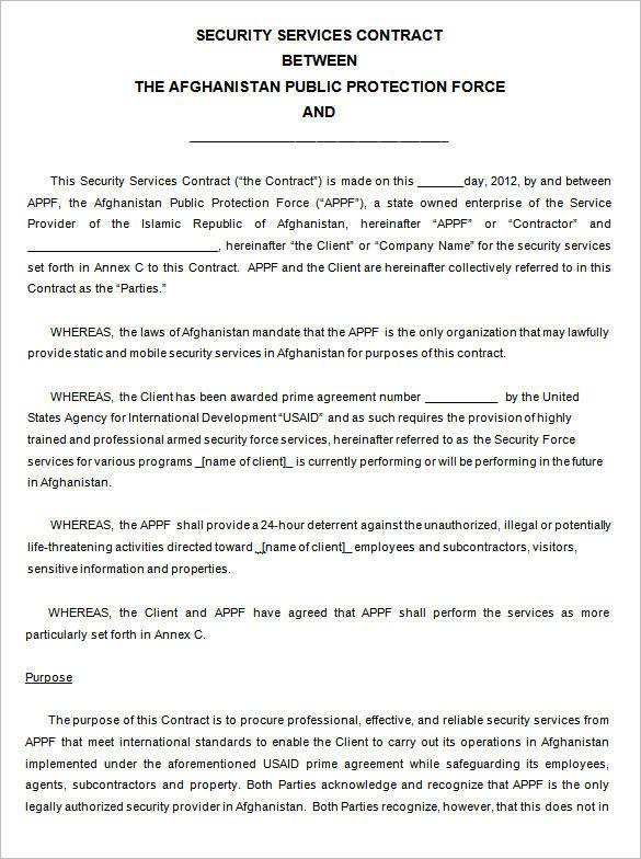 security service contract template free