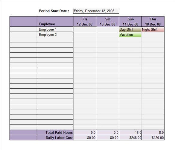 9+ Employee Shift Schedule Samples  Templates - PDF, Word, Excel - shift schedule template
