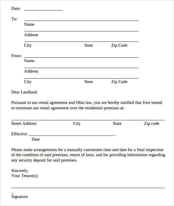 free lease termination letters